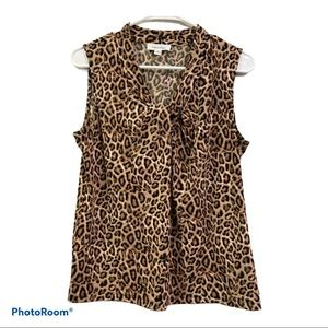 🔥Sale Calvin Klein cheetah print tie knot blouse